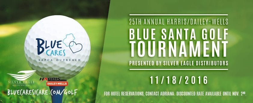 25th annual blue santa golf tournament sapoa blue santa golf tournament banner spiritdancerdesigns Choice Image