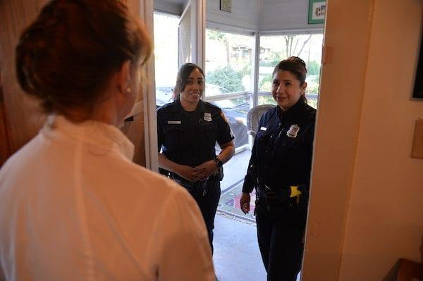 San Antonio Police officers at the door