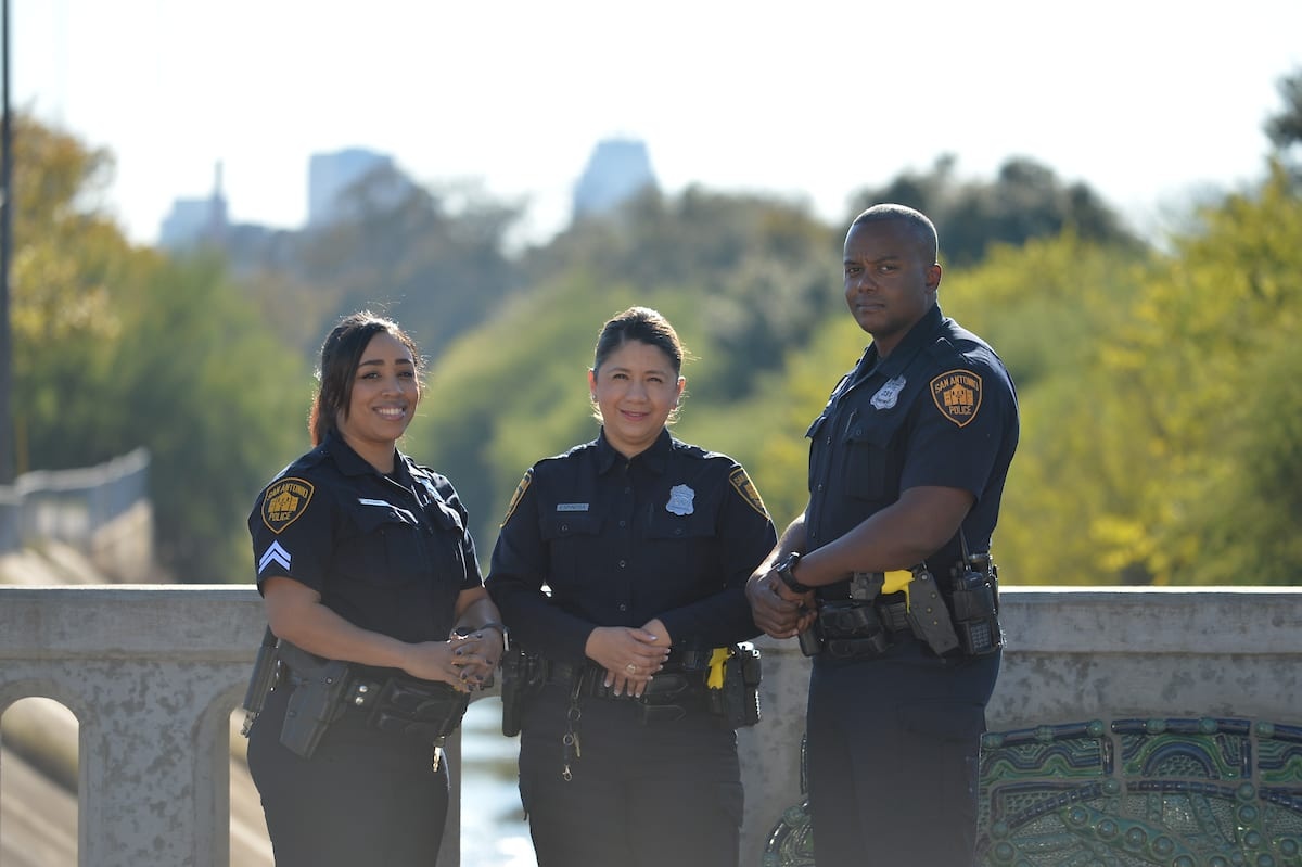 Three officers standing
