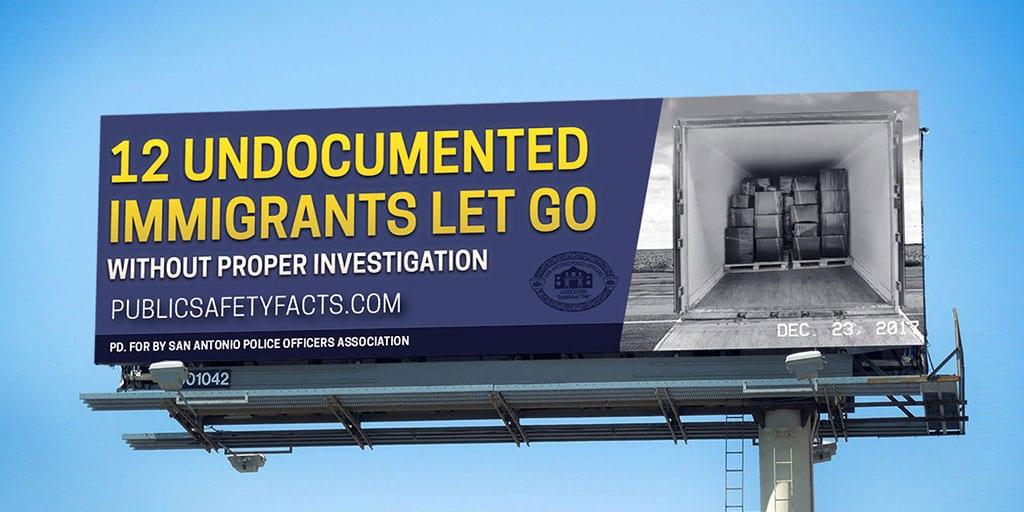 PSF Billboard: 12 Undocuments Immigrants 18 wheeler