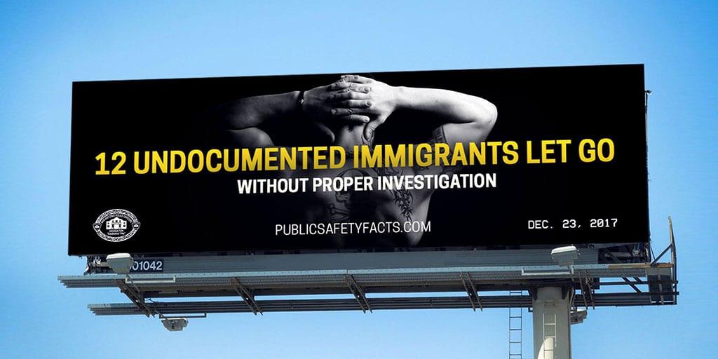 PSF Billboard: 12 Undocuments Immigrants Handcuffs
