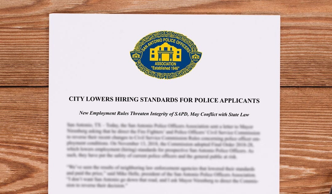 City lowers hiring standards press release